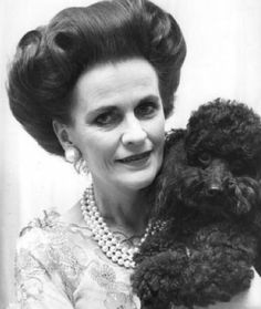 """Margaret Duchess of Argyll with her poodle - Tim Mercer photo,1981. """"Always a poodle, only a poodle! That, and three strands of pearls!""""-""""Together they are absolutely the essential things in life,""""The Duchess 
