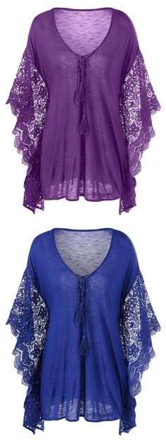Plus Size Butterfly Sleeve Crochet Trim Blouse Lace Tops