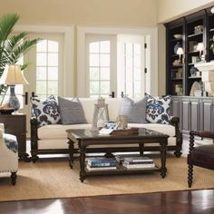 Island Traditions Collection features exquisite, dark-finished hardwoods, intricate hardware and carved detailing,    and a splashy accent of indigenous materials. The Island Traditions Blue Living Room offers an inspired view of casual elegant living, embracing the warmth    and familiarity that we all aspire to convey in our home d. This collection blossoms with unexpected details, from opulent lion's paw feet to    woven rattan and Penn shell i...