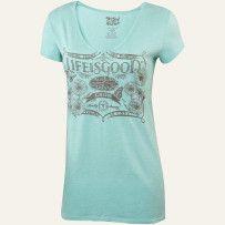 Aqua Women's Organic Short Sleeve Vee Neck Tee Shirt|Graphic Tee Shirt| Life is good