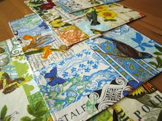 Bird Botanical Placemats (4) with Birds, Butterflies, Flowers, Pears in Yellow and Blue - Michael Miller French Journal Fabric