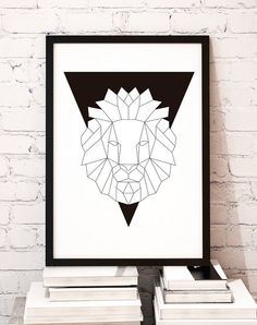 Geometric animal art print poster Black Lion / door MBmindbackup