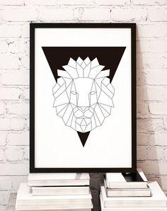 Geometric animal art print poster Black Lion / door MBmindbackup