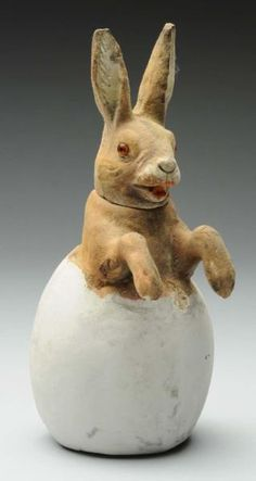 "German Rabbit in Egg Candy Container, 7""h"