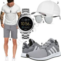 Weißgraues Herren-Outfit für den Sommer 2018 - Stuff to buy - Modes Gq Mens Style, Men Style Tips, Ad Fashion, Mens Fashion, Cool Boys Clothes, Casual Outfits, Men Casual, Neue Outfits, Herren Outfit