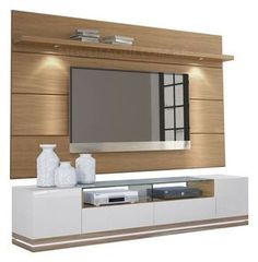 Rack Rennes Com Painel Horizon Natural Tv Unit Decor, Tv Wall Decor, Tv Cabinet Design, Tv Wall Design, Deco Tv, Lcd Panel Design, Tv Wall Cabinets, Modern Tv Wall Units, Tv Unit Furniture