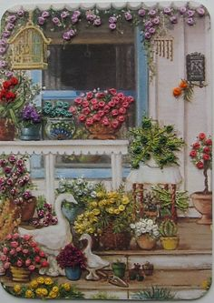Global Gallery 'Spring Front Porch' by Janet Kruskamp Painting Print on Wrapped Canvas Size: Painting Prints, Canvas Prints, Paintings, Ribbon Art, Artist Trading Cards, Decoupage, Folk Art, Illustration Art, Artwork