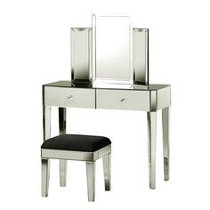 Check out your look from every angle with the StyleCraft 2 Piece Tri Fold Vanity Mirror Set . This set includes a vanity, mirror, and a stool. Vanity Table Set, Vanity Set With Mirror, Bedroom Makeup Vanity, Upholstered Stool, Upholstery Cushions, Dressing Table Set, Black Cushions, Mirrors Wayfair, Tri Fold