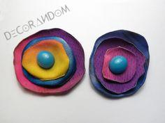 orecchini di stoffa fabric jewelry fiore colorato stoffa riciclata con perla of6 di decorandom su Etsy