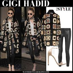 Gigi Hadid in crochet mixed media long cardigan and black leather pants