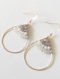 SEDONA Silverite 14k Gold fill beaded hoop earrings by Komakai