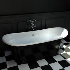 Baignoire Ilot en fonte, 170x72 cm, peinte en noir, Cambridge