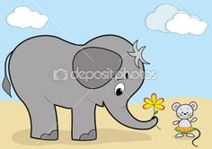 Baby Elephant and Mouse from depositphotos.com
