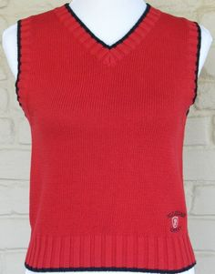 Ralph Lauren Polo Jeans Company Sweater Vest Red With Navy Trim Womens Size M #RalphLauren #KnitTop #Casual
