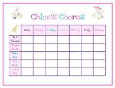 chore chart for girls   Items similar to Girls Printable Customized Chore Chart - Flowers on ...