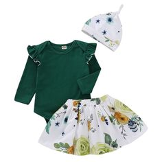 e6374bf0f66 Adorable Green Ruffle Sleeves Romper Skirt Hat 3 Pc Set