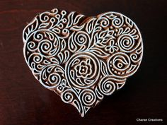 Charan Creations - Block Stamps, Tjaps, Pottery stamps, Indian Wood Stamps- Large Floral Heart