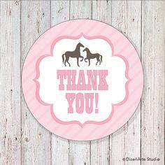 Barn/Pony Birthday  2 Round Label  DIGITAL FILE