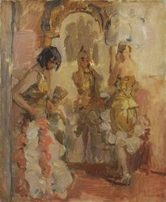 Artwork by Isaac Israëls, Before the performance at the Scala Theatre, The Hague, Made of oil on canvas