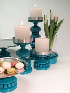 Turquoise elegance for table setting by Aarikka Spring Home Decor, Spring Art, Spring Crafts, Candlestick Holders, Candlesticks, Egg Decorating, Decorating Your Home, Nordic Design, Candle Lanterns