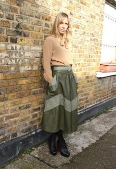 Vintage 1980's Two Toned Green Leather Midi Skirt