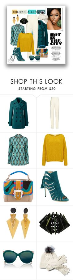 """Teal, Mustard  & Ivory color  challenge."" by quicherz on Polyvore featuring Lands' End, Chloé, Etro, American Vintage, Paula Cademartori, Paul Andrew, Toolally and River Island"