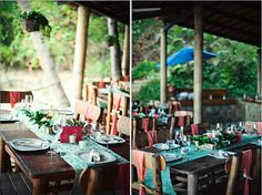i like the coral and turquoise scheme the bare wooden table and tropical island setting.  Coral draped chairs