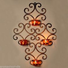 Candle Holder Wall Decor circle flower votive candle holder wall decor | wrought iron