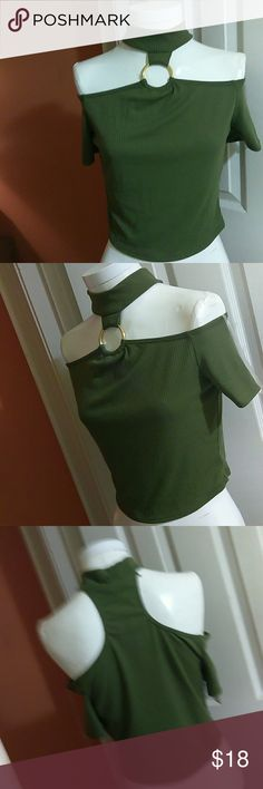 Sexy Mock neck Top Show off those sexy shoulders with this cute trendy top. Can be worn with skinny jeans, shorts, high waisted pencil skirt and it rocks. Lightweight and comfortable fitting, fabric has ribbed details, stretch and can easily fit small medium. Offers welcome Tops