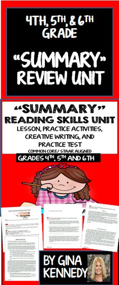 A thorough review of the important reading text structure skill, summary. Excellent for introducing this concept, as a review, or as a reading intervention. 100% Common Core and STAAR Aligned.  Students will review strategies to summarize text and then read summaries from popular stories as they guess what story the summary is referring to. Then they will practice summarizing short passages and other text activities. A bonus summary creative writing activity and a summary practice ...$
