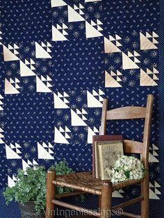 """Incredible Antique c1880-1910 Indigo Blue & White Quilt 90x79"""" Putnam Family"""