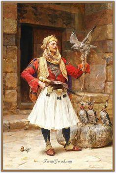 Oil painting male portrait Arab people man with bird hawk hand painted in oil Albanian Culture, Greek Soldier, Jean Leon, Empire Ottoman, Arabian Art, Classic Paintings, Arabian Nights, Various Artists, Islamic Art