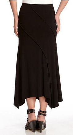 Love this Skirt Design! Love the Hem! Love the Exposed Seams! Black Spiral Seam Maxi Skirt! #Karen_Kane #Black #Spiral #seam #Maxi #Skirt #Made_in_the_USA #Spring #Fashion