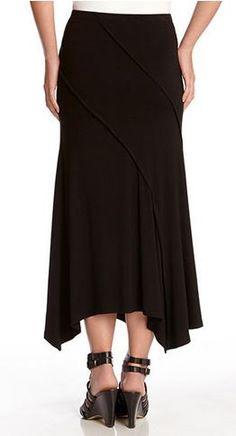 BLACK SPIRAL SEAM MAXI SKIRT Karen Kane gives an otherwise basic skirt a stylish touch with visible seam detail and a sharkbite hem. #Karen_Kane #Black #Spiral #Seam #Maxi #Skirt