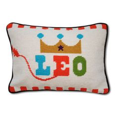 """Jonathan Adler """"Leo"""" pillow for my son named Leo, who isn't actually a Leo."""