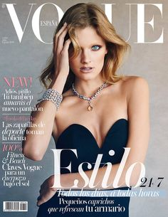 Constance on Vogue Spain, Take 2–Landing her second Vogue Spain cover, Constance Jablonski stuns in glittering gems for the magazine's July issue. The French model poses for Patrick Demarchelier in a studio portrait where she dons a strapless top and bombshell hair.