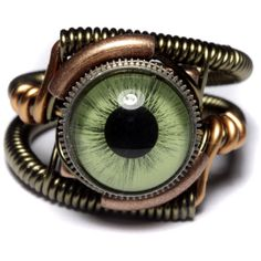 Steampunk Jewelry - Ring - Green taxidermy glass Eye ($50) ❤ liked on Polyvore featuring jewelry, rings, accessories, steampunk, eyes, green cocktail ring, steam punk jewelry, band jewelry, green ring and glass rings