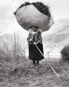French woman carrying a load of hay | Pepi Merisio