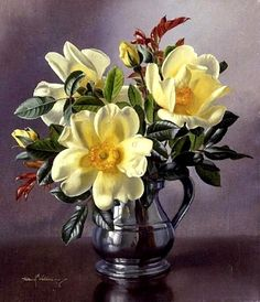 by Albert Williams (artist) Flower Vases, Flower Art, Flower Arrangements, Art Floral, Art Folder, Oil Painting Flowers, Environment Concept Art, Flowers Nature, Flower Pictures