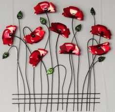 Bought some Metal Art Ceramic Poppies, Ceramic Flowers, Clay Flowers, Clay Art Projects, Ceramics Projects, Ceramic Wall Art, Ceramic Pottery, Pottery Painting Designs, Fused Glass Art