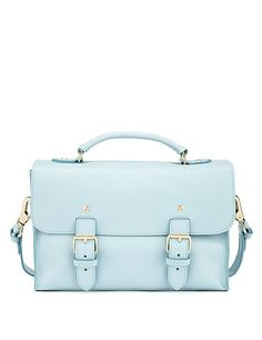 Blue Best of British Leather Twin Buckle Satchel Bag M&S