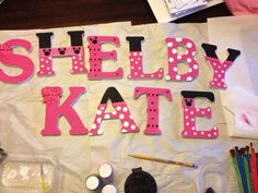 Minnie Mouse inspired painted letters. Wooden letters, acrylic paint, and ribbon from Hobby Lobby. 2 hours later and DONE.