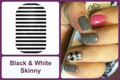 BLACK & WHITE SKINNY Jamberry Nail Wraps #BlackWhiteSkinnyJN www.debsjaminails.jamberrynails.net