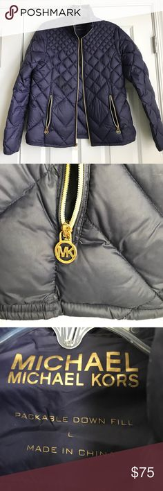 """Michael Kors Down Fill Navy Coat with Gold Zipper In excellent condition! Adorable winter coat with Down fill that will keep you warm. Measurements: 21"""" across chest and 24.5"""" long MICHAEL Michael Kors Jackets & Coats Puffers"""