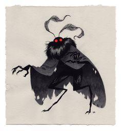 Mothman, an art print by Julian Callos Monster Design, Monster Art, Monster High, Art And Illustration, Art Illustrations, Fantasy Kunst, Fantasy Art, Fantasy Creatures, Mythical Creatures