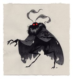 Mothman, an art print by Julian Callos Monster Design, Monster Art, Monster Concept Art, Monster High, Fantasy Creatures, Mythical Creatures, Arte Obscura, Mothman, Character Design Inspiration