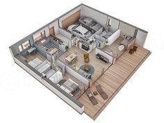 Projekt domu Murator C365j Przejrzysty - wariant X 104,5 m2 - koszt budowy - EXTRADOM Sims House Design, My House Plans, My Dream, Isometric Art, Cabin Ideas, Home Decor, Random, Cookware Accessories, Homes