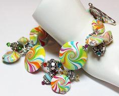 Polymer Clay Rainbow bracelet by Fanceethat on Etsy...$48.00