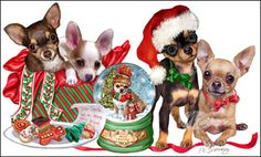 """New for 2008!Quantities Limited! Chihuahua Christmas Cards are 8 1/2"""" x 5 1/2"""" and come in packages of 12 cards. One design per package. All designs include envelopes, your personal message, and choice of greeting.Select the greeting of your choice from the drop-down menu above.Add your personal message to the Comments box during checkout."""