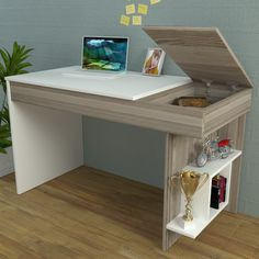 HIDDEN Bureau White / Avola - Computer Workstation - Home Office Desk - Writing Table with shelf unit in modern Design . Computer Desk Design, Office Table Design, Computer Workstation, Home Office Desks, Home Office Furniture, Furniture Design, Desk Redo, Diy Desk, Study Table Designs